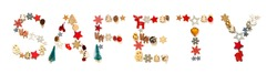 Colorful Christmas Decoration Letter Building Word Safety