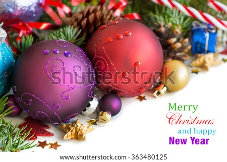 colorful christmas tree ornaments and presents focus on the foreground blurred background ez canvas
