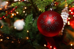 Colorful christmas decorations in a christmastree
