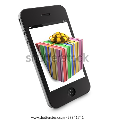 Colorful christmas gift coming out of a smartphone - stock photo