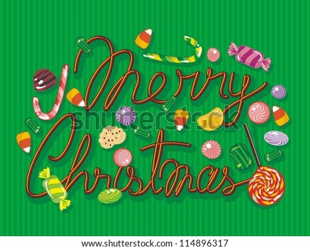 Colorful Christmas illustration with sweets and candies