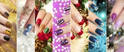 Colorful Christmas nails winter nail designs with glitter,rhinestones, on short and long female nails.