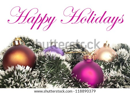 Colorful Christmas ornaments isolated on white