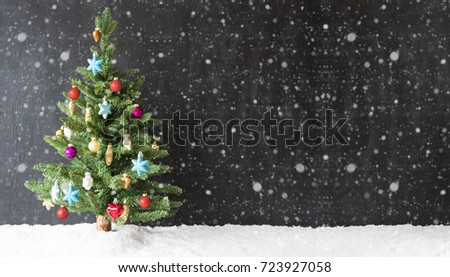 Colorful Christmas Tree, Snow, Copy Space, Snowflakes #723927058