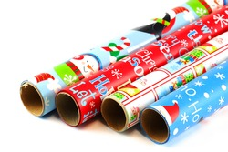 colorful Christmas wrapping paper isolated on white background