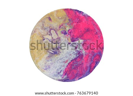 Colorful circle blots. Abstract background. Marble texture. Acrylic colors. #763679140