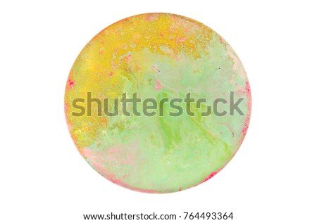 Colorful circle blots. Abstract background. Marble texture. Acrylic colors. #764493364