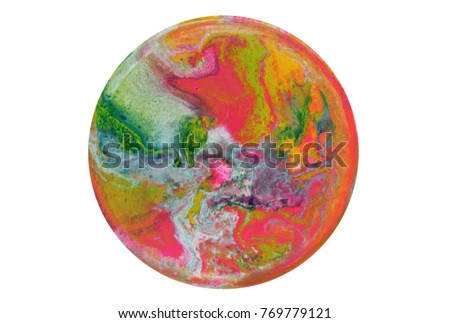 Colorful circle blots. Abstract background. Marble texture. Acrylic colors. #769779121