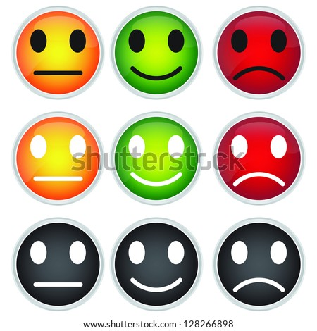 Colorful Circle Icon For Customer Satisfaction Survey Concept Isolated on White Background