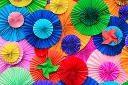 Colorful Circle shape folding paper background
