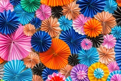 Colorful circle shape paper, Multicolor Origami, Art and idea Colorful Background