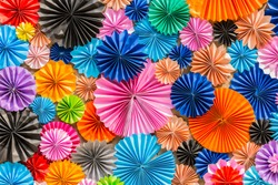 Colorful circle shape paper, Multicolor Origami, Colorful Paper Flowers Background