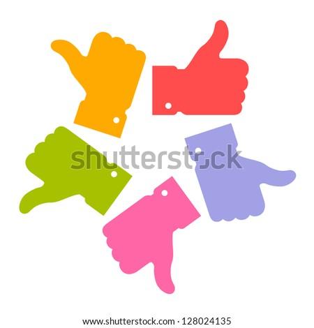 Colorful circle thumb up logo, raster illustration