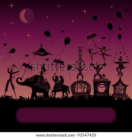 colorful circus caravan by night with magician, elephant, dancer, acrobat, mermaid and other fun characters