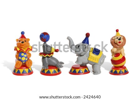 Colorful circus toys of a  lion, bear, elephant and seal
