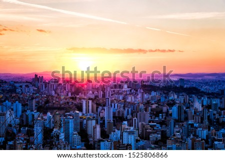 Colorful Cityscape of Belo Horizonte, Minas Gerais State, Brazil, During Sunset with a Colorful Sky