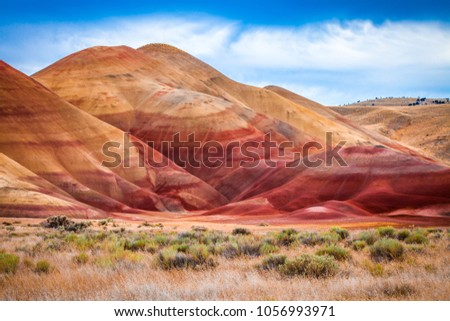 Colorful clay hills in the Painted Hills of Oregon, USA #1056993971