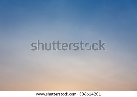 colorful clear sky background, blue and orange sunset sky