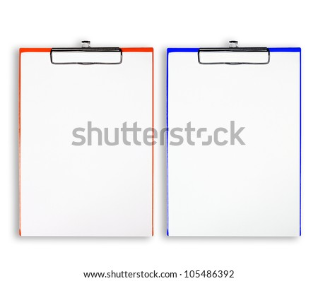 Colorful clipboard with white paper on white background