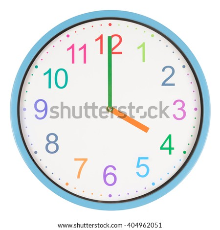 Colorful clock showing four o'clock isolated on white background #404962051