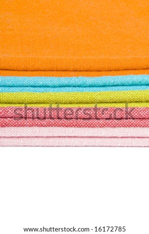 Colorful Cloth Napkins Isolated on White