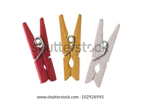colorful clothespin isolation on white background