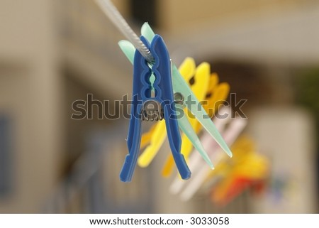 colorful clothespins on the line