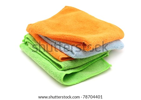 Colorful cloths microfiber isolated on a white background.