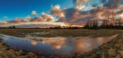 Colorful Clouds Reflecting in a Puddle in a field