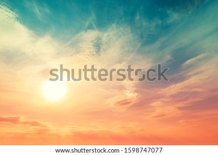 Colorful cloudy sky at sunset. Gradient color. Sky texture, abstract nature background