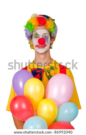Colorful clown with balloons isolated on white background