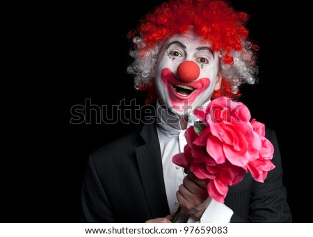 colorful clown with flowers   on a black background