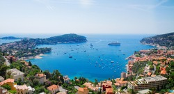 colorful coast and turquiose water of cote dAzur, France, web banner format