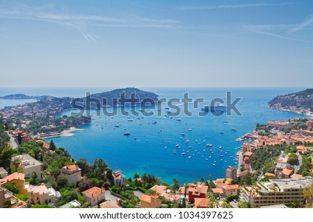 colorful coast and turquiose water of cote dAzur, french riviea coast #1034397625
