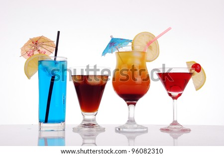 Colorful cocktails collection - stock photo