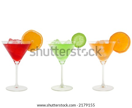 colorful cocktails isolated on white and clipping path included
