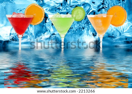 colorful cocktails with a ice cold background