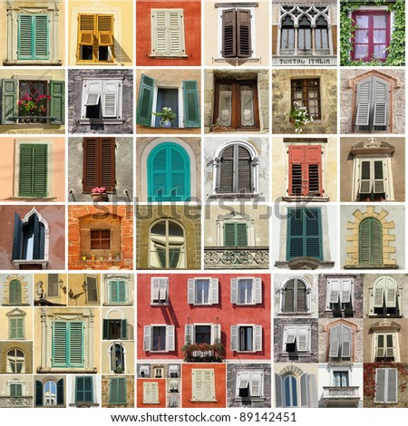 colorful collage made of antique windows in Italy