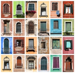 Colorful collage made of windows from Venice, Italy