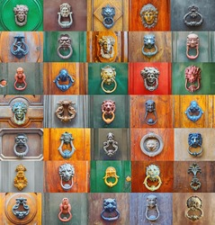 Colorful collage of a variety of knockers and handles on ancient  doors in Rome, Italy
