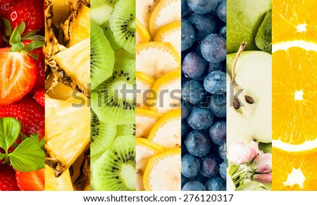 Colorful collage of assorted tropical fruit with vertical bands displaying strawberries, pineapple, banana, blueberries, apple and oranges for a food background