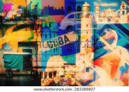 colorful collage of havana cuba ...