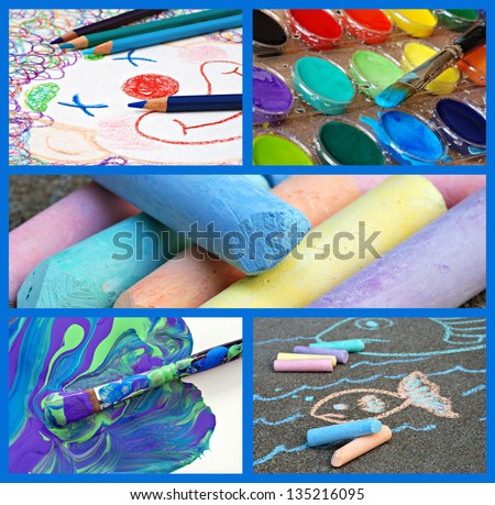 Colorful collage of kids' artwork and supplies includes clown sketch with coloring pencils, watercolor paints, messy paintbrush, chalk, and sidewalk drawing.
