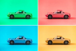 Colorful collection of retro toy car model with side view on colorful background. Green, Red, Blue, Yellow. traveling and transport concept.
