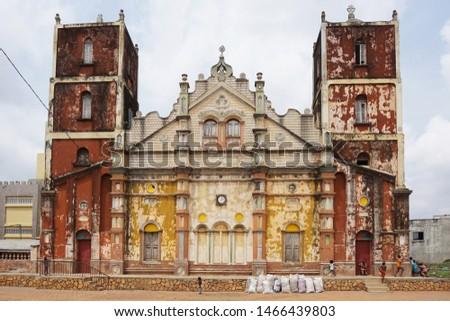 Colorful colonial church in the city of porto novo in benin Foto stock ©