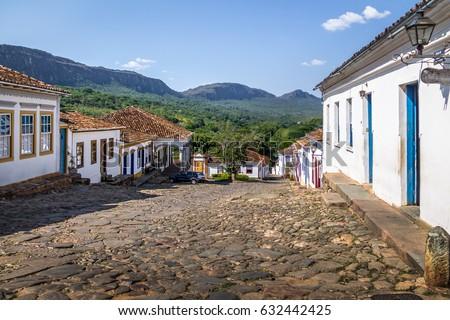 Colorful colonial houses and cobblestone street - Tiradentes, Minas Gerais, Brazil