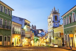 Colorful colonial houses at the historic district of Pelourinho at twilight in Salvador da Bahia, Brazil.