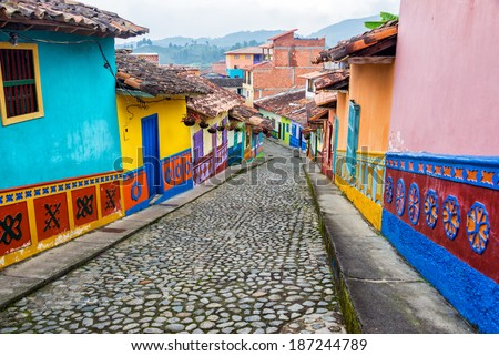 colorful colonial houses on a...