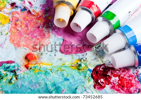 colorful color mixing palette of different color tubes