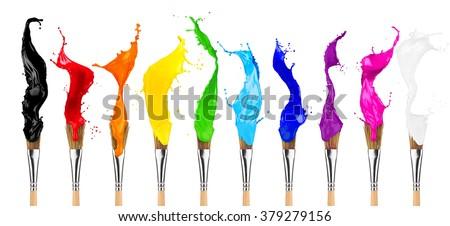 colorful color splashes paintbrush row isolated on white background #379279156